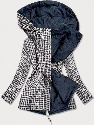 Oboustranná, bílo-tmavě modrá dámská bunda s pepitovým vzorem (W506)