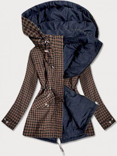 Hnědo-tmavě modrá oboustranná dámská bunda s pepitovým vzorem (W506)