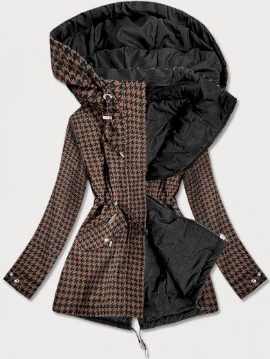Hnědo-černá oboustranná dámská bunda s pepitovým vzorem (W506)