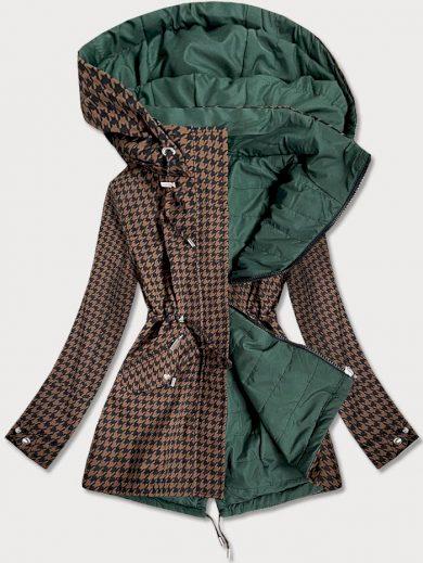Hnědo-zelená oboustranná dámská bunda s pepitovým vzorem (W506)