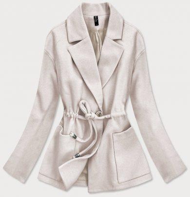 Volný dámský krátký kabát v barvě ecru (2727)