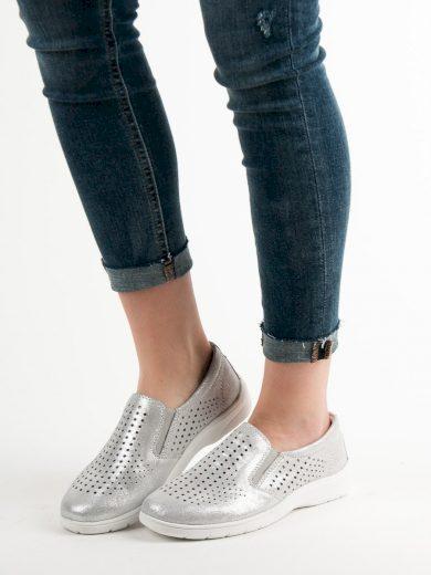 Módní  polobotky dámské šedo-stříbrné bez podpatku