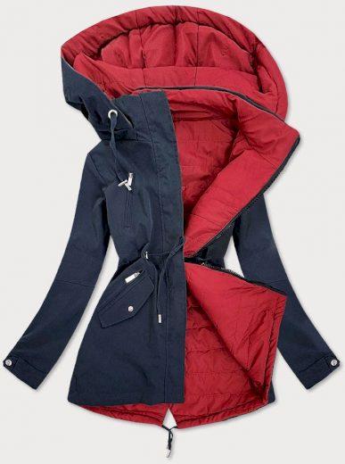 Tmavě modro - červená oboustranná dámská bunda (W505)
