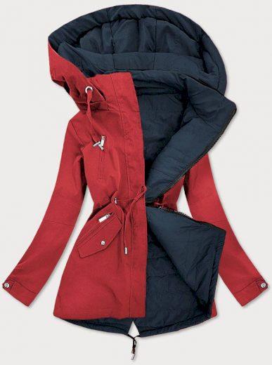 Červeno-tmavě modrá oboustranná dámská bunda (W505)