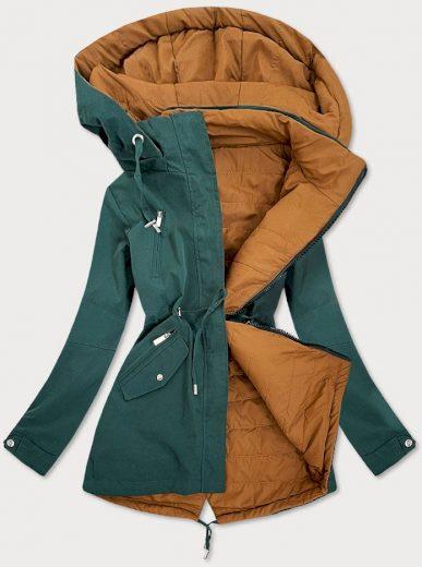 Zeleno-karamelová oboustranná dámská bunda (W505)