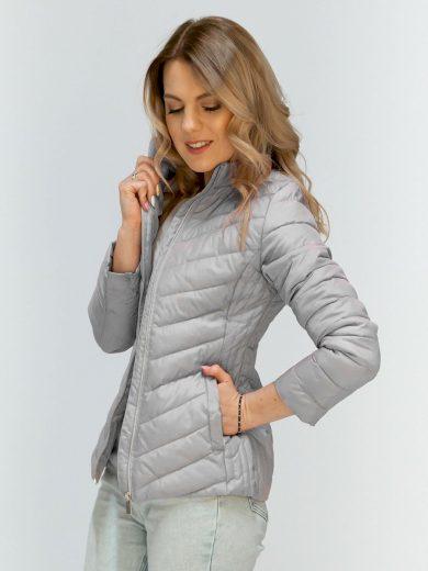 Světle šedá bunda se skrytou kapucí (W80)