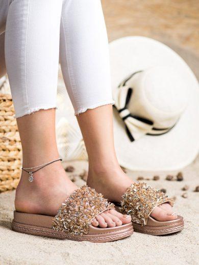 Krásné  nazouváky dámské zlaté bez podpatku