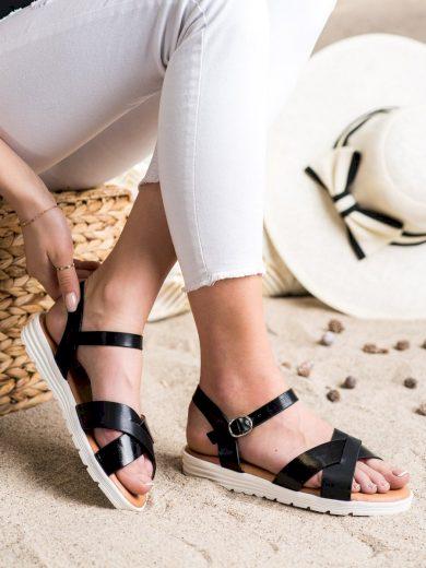 Pohodlné  sandály dámské černé bez podpatku
