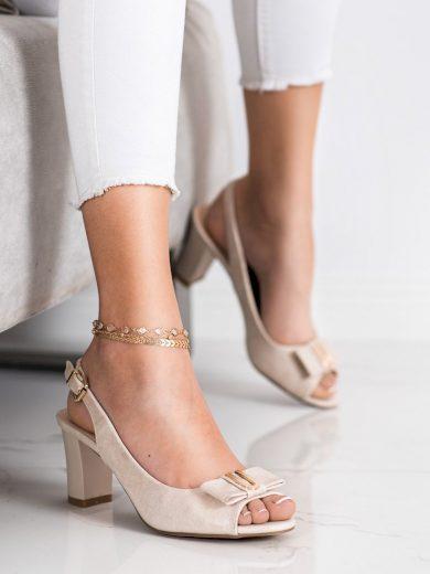 Originální  sandály hnědé dámské na širokém podpatku