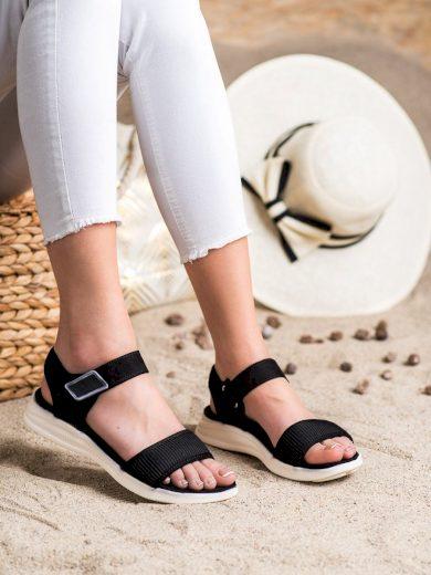 Módní černé  sandály dámské bez podpatku