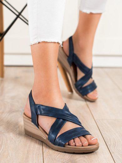 Luxusní dámské modré  sandály na klínku
