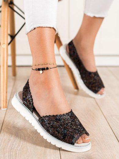 Stylové dámské vícebarevné  sandály bez podpatku