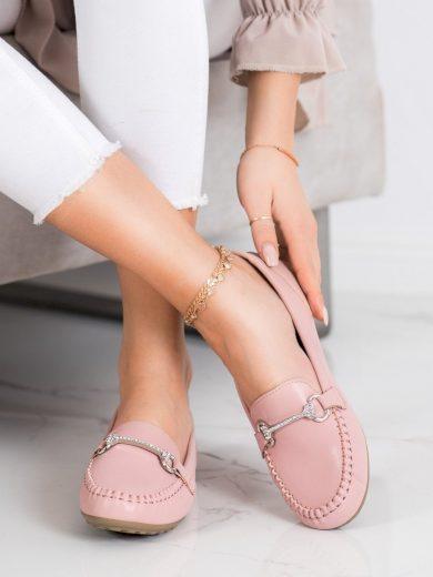 Exkluzívní dámské  mokasíny růžové bez podpatku