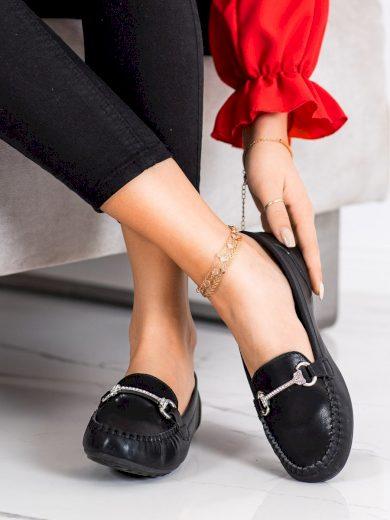 Komfortní  mokasíny černé dámské bez podpatku