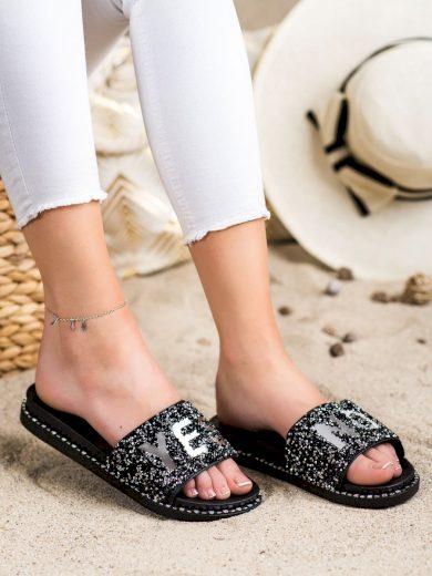 Designové  nazouváky černé dámské bez podpatku