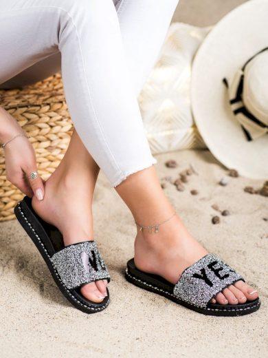Designové  nazouváky šedo-stříbrné dámské bez podpatku