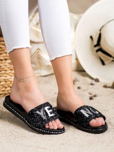 Designové černé  nazouváky dámské bez podpatku