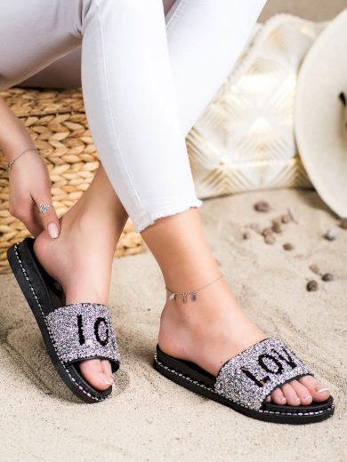 Praktické  nazouváky šedo-stříbrné dámské bez podpatku