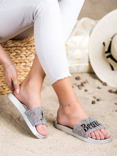 Jedinečné  nazouváky dámské šedo-stříbrné bez podpatku