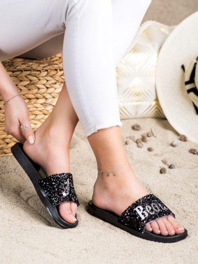 Designové  nazouváky dámské černé bez podpatku