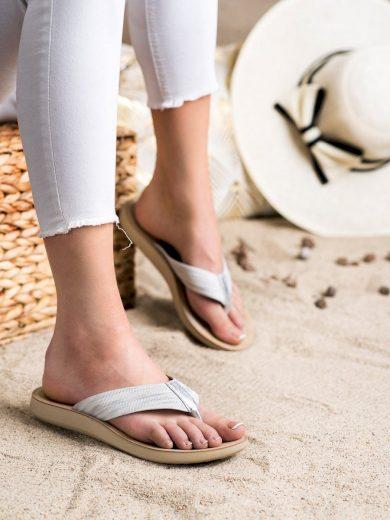 Komfortní šedo-stříbrné dámské  nazouváky bez podpatku