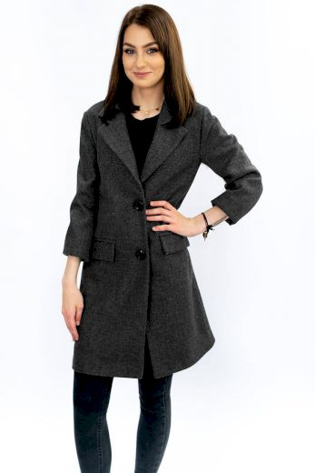 Tmavě šedý jednořadový kabát s knoflíky (0760)