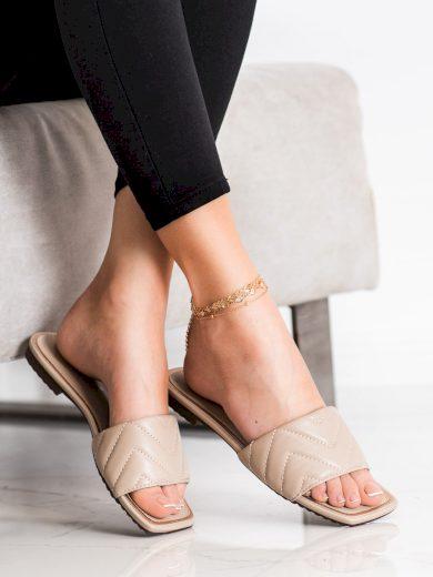 Trendy  nazouváky dámské hnědé na plochém podpatku