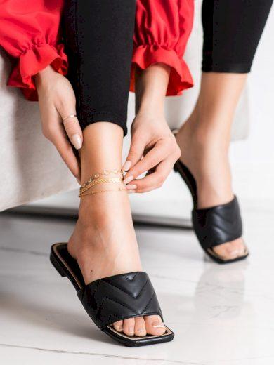 Designové černé  nazouváky dámské na plochém podpatku