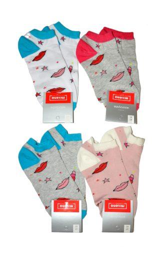 Dámské nepárové vzorované kotníkové ponožky Milena 1146