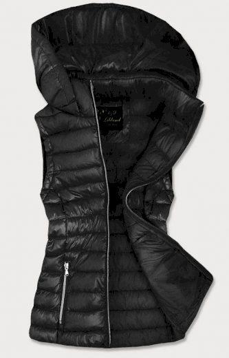 Černá prošívaná lesklá dámská vesta (7000)