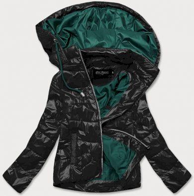 Krátká černo/zelená dámská bunda s barevnou kapucí (BH2005BIG)