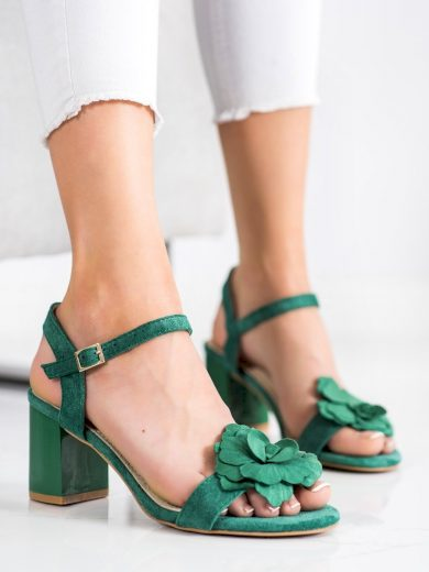 Praktické  sandály dámské zelené na širokém podpatku