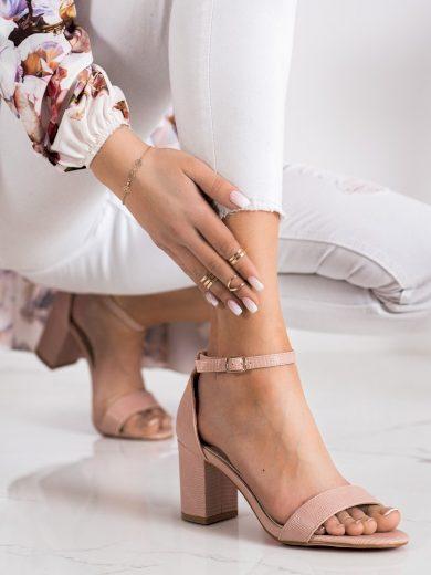 Trendy  sandály dámské růžové na širokém podpatku