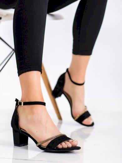 Designové  sandály dámské černé na širokém podpatku