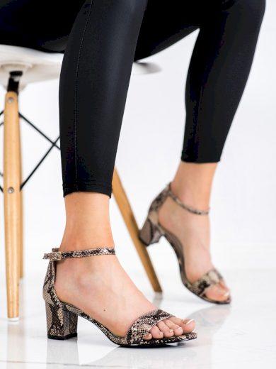 Designové dámské  sandály se zvířecím motivem na širokém podpatku