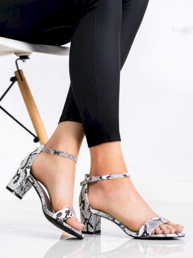 Designové se zvířecím motivem  sandály dámské na širokém podpatku