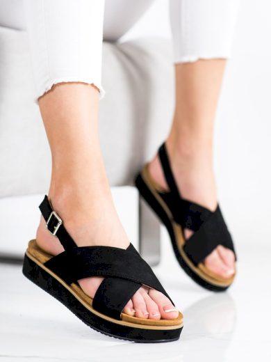 Krásné dámské  sandály černé bez podpatku