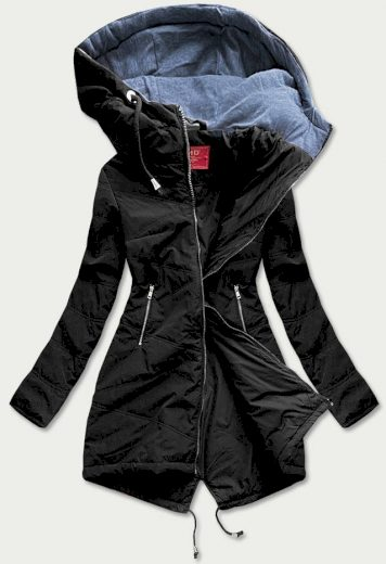 Vypasovaná černá dámská bunda (M-165)