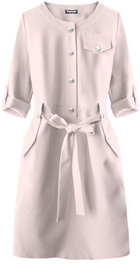 Tužkové dámské šaty v pudrově růžové barvě (273ART)