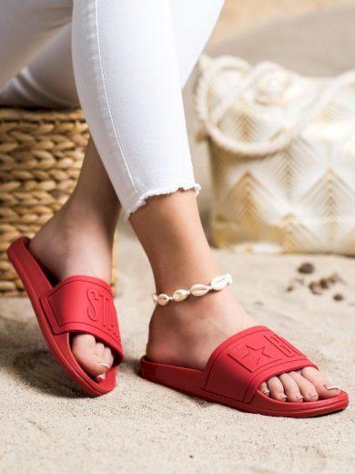 Krásné  nazouváky dámské červené bez podpatku