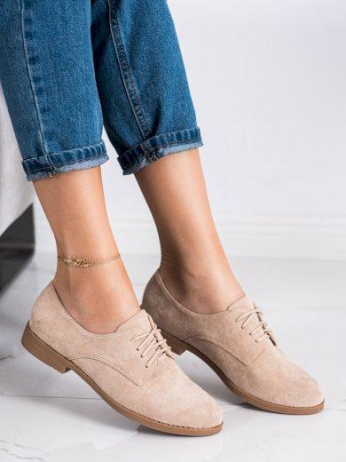 Trendy dámské  polobotky hnědé na plochém podpatku