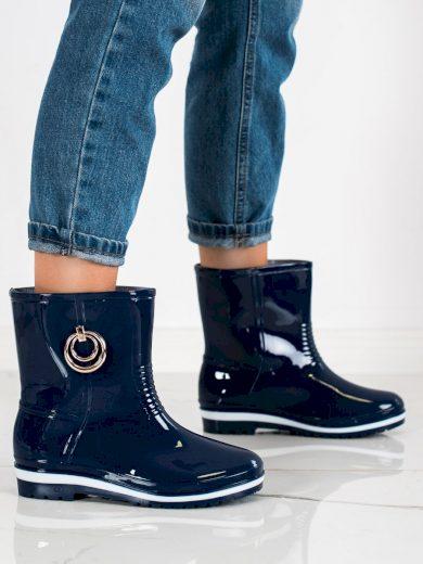 Praktické modré  gumáky dámské na plochém podpatku