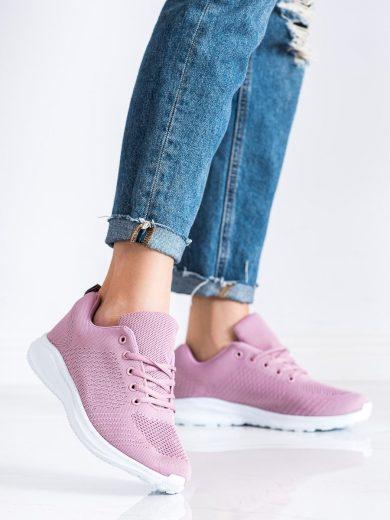 Jedinečné růžové dámské  tenisky bez podpatku