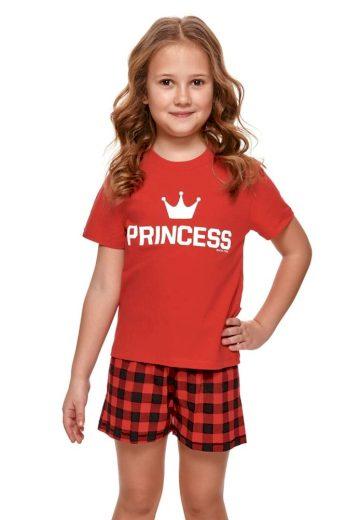 Krátké dívčí pyžamo Princess červené