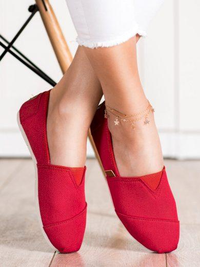 Trendy dámské červené  tenisky bez podpatku