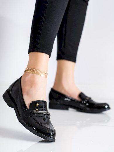 Zajímavé černé  polobotky dámské na plochém podpatku