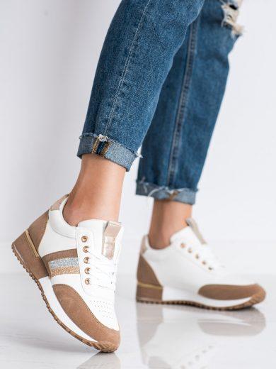 Zajímavé dámské bílé  tenisky bez podpatku