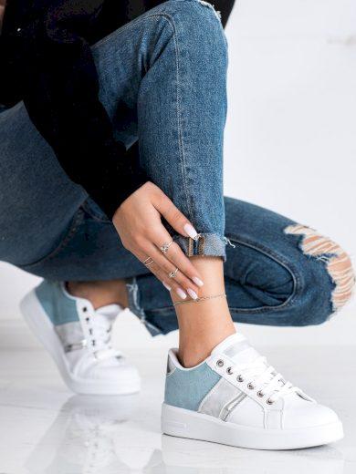 Luxusní bílé dámské  tenisky bez podpatku