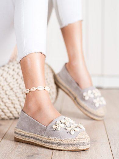 Luxusní  polobotky dámské šedo-stříbrné bez podpatku