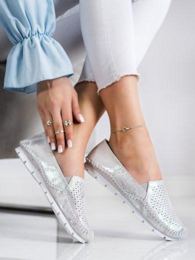 Designové šedo-stříbrné dámské  polobotky bez podpatku